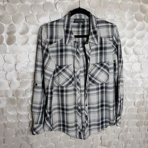 Michael Stars Plaid Button Down Blouse Sz Small